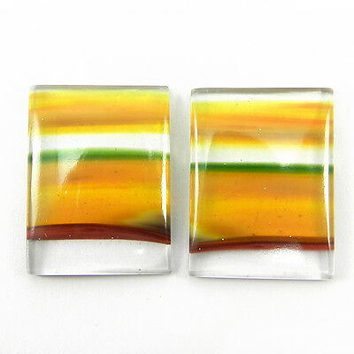 1 Pair Mexican Glass Gemstone 17x23mm Rectangle Cab 24.8 Cts Stone ER9002