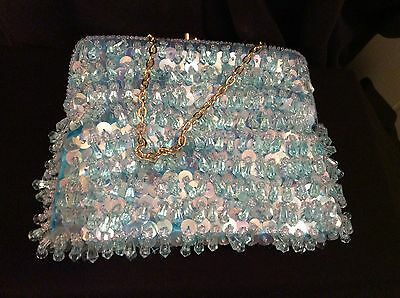 Vintage Beaded Sequin Aqua Evening Bag Gold Chain
