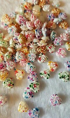 20pcs x 8mm multi colour resin roses. * UK SELLER *