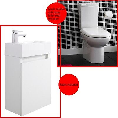 Ultra Zone Close Coupled Toilet With Cloakroom Vanity Unit Suite White