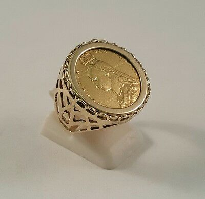 Gold 1892 Half Sovereign Shieldback Coin  Ring  Full British Hallmark
