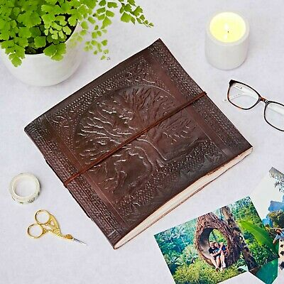 Fair Trade Handmade Large Tree Of Life Embossed Leather Photo Album Sketchbook