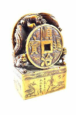 Chinese Carved Stone Seal Stamp 3 DRAGONS - INTRICATE DETAILED CARVING Calendar