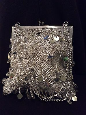 Vintage Silver Beaded & Satin Evening Bag Purse 1960's