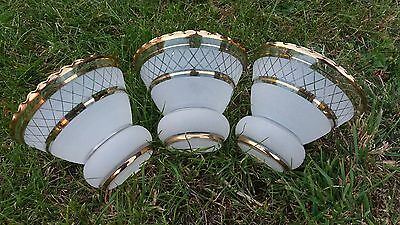 French  Vintage Replacement white Frosted gold line Light Shade Qty Available 3