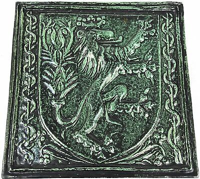Antique Vintage Rare Glazed Green Lion Crown Coat Of Arms Tile Wall Hang