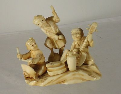 Antique Japanese Carved Signed Okimono Group Musicians Meiji Netsuke
