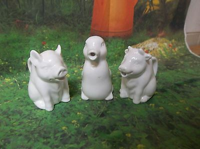 G90 Variety Lot of 3 Vintage Ceramic FARM ANIMAL Shaped Creamers PIG COW CHICKEN