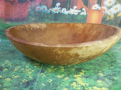 E90 Vintage Hand Carved Wood Round Shaped Bread Dough Bowl Antique