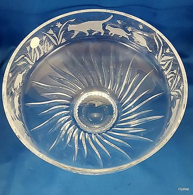 "Lenox Crystal Cats Large Centerpiece Fruit Bowl 10"" Gray Cut Cats Kittens"