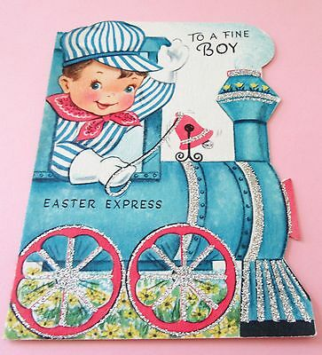 Used Vtg Easter Card Cute Boy Conductor on Glittery Train Easter Express