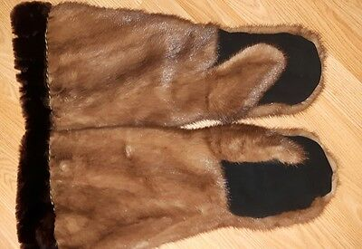 Mink black suede Mitts