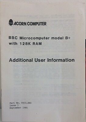 BBC Micro Computer Model B+ With 128k Additional User Information