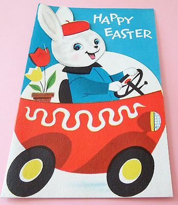 Used Vtg Easter Card Cute Norcross Bunny in Car with Tulips