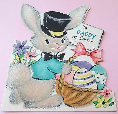 Used Vtg Easter Card Hallmark Flocked Bunny in Top Hat & Bow Tie w Easter Basket