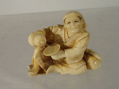 Antique Japanese Carved Netsuke Okimono Signed Meiji Man Figure