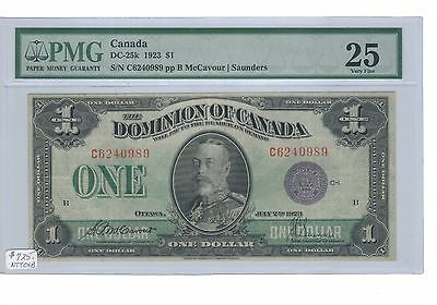 1923 $1.00 Dc-25K Pmg Vf-25 The Best Of. Scarce In High Grade Don`t Miss Rarity