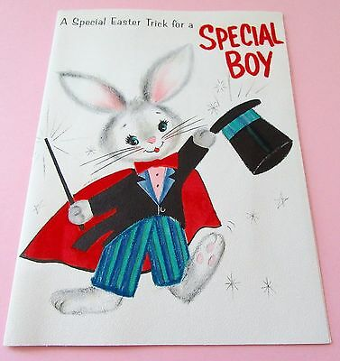 Used Vtg Easter Card Cute Bunny Magician w Flocked Cape & Bow Tie Hallmark