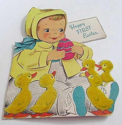 Used Vtg Easter Card Norcross Baby's First Easter w Flocked Chicks & Easter Egg
