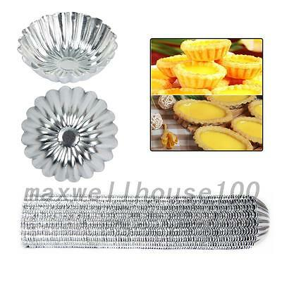 10PCS Egg Tart Aluminum Cupcake Cake Cookie Flower Mold Tin Baking Tool
