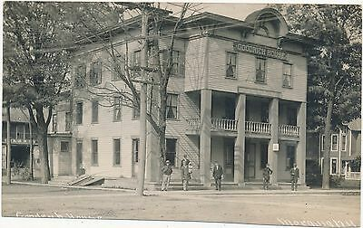 Vintage Real Photo Postcard MORAVIA NEW YORK NY Goodrich House Street Scene RPPC