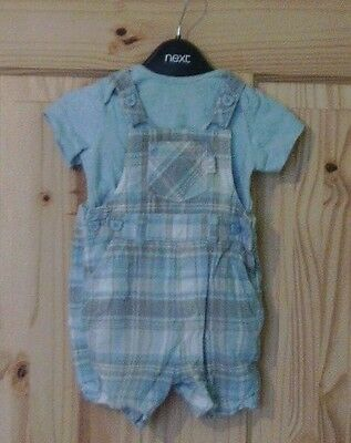 TU baby boys 3-6 months checked summer playsuit romper t shirt outfit