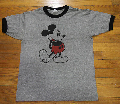 """True Vintage Walt Disney Mickey Mouse Grey Ringer T Shirt Small 36"""" Chest 70s M"""