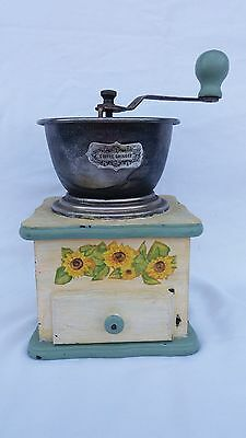 French Vintage Coffee/pepper Grinder With Yellow Flowers