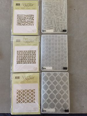STAMPIN UP 3 Modern Press, Arrows, Modern Mosaic Embossing Folders NEVER USED