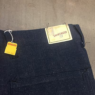 Vintage 1950's DEADSTOCK Dark Denim Jeans -Waldes Zipper- W33