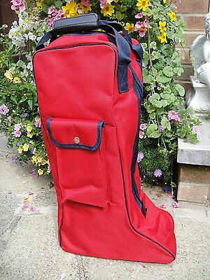 RHINEGOLD LONG BOOT BAG RIDING BOOT BAG SIDE POCKET Red