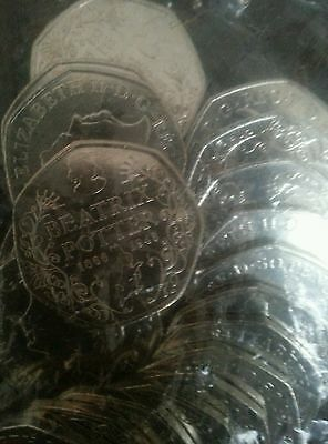 Beatrix Potter 50p Coins Uncirculated sealed Bag OF £10 Coins 15oth anniversarY