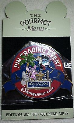 DLP Gourmet Trading Event Stitch Angel Blue Lagoon Disney Pin LE 400 JUMBO PTN