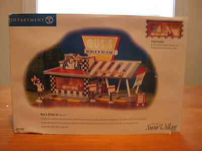 Department 56 Snow Village Gus's Drive-In with Accessories in Original Box 55067