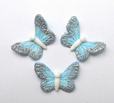 6 blue silver edible sugar butterflies  cake cupcake topper decoration