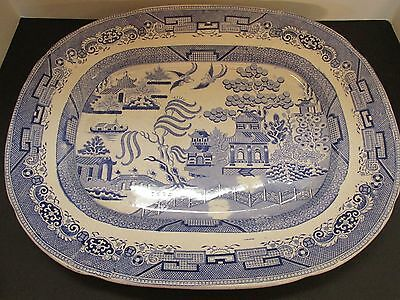Antique Blue Willow Serving Platter, Circa 1850, unsigned