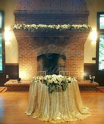 """CHAMPAGNE GOLD SEQUIN 120"""" ROUND TABLECLOTH Wedding Head Table"""