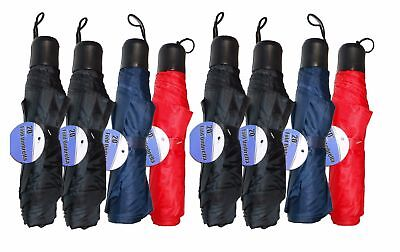 "Lot Of 8 Telescopic 42"" Umbrellas Travel Purse Folding Rain Assorted Colors NEW"