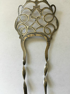 Beautiful  Silver Edwardian Hair Slide Grip Comb Antique 1906