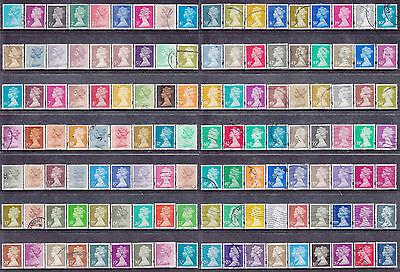 Collection Of 126 GB Machin Definitives With High Values Used Stamps LOT34m