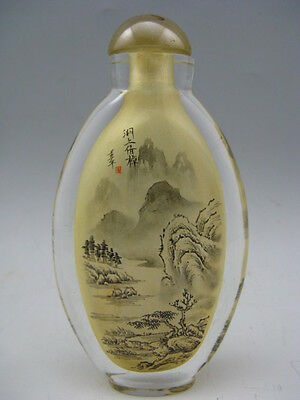 Old Peking glass Hand INSIDE PAINTED Landscape Boat Calligraphy Snuff Bottle