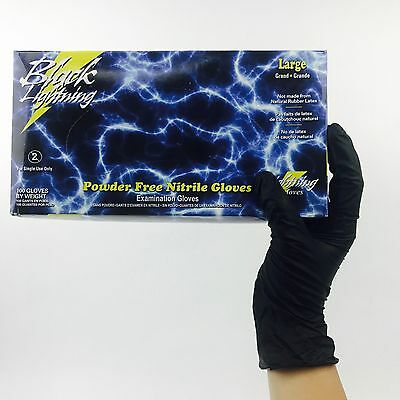 100 Large Black Lightning Nitrile Gloves Powder Free