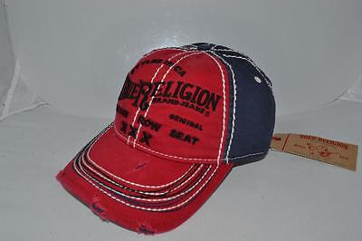 Authentic True Religion Baseball Cap Hat TR1009 Navy Blue Red  Brand New