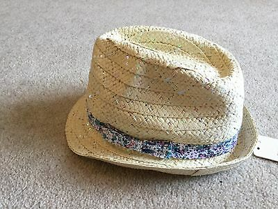 Baby girls straw style summer hat with sequins over from Next size 1 - 2 years