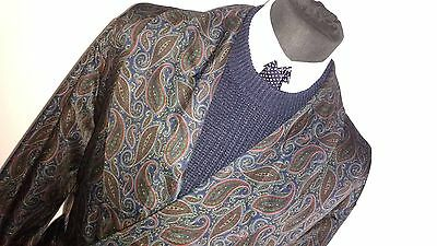 Mens Vintage Paisley St Michael (M&s) Smoking Jacket Robe Dressing Gown