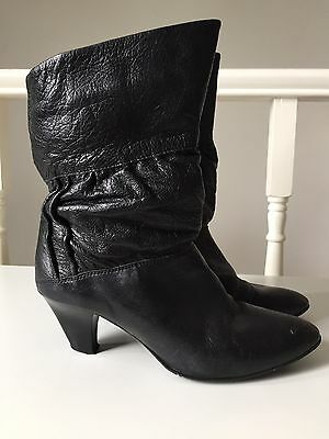 Schuh Black Leather 80s Scrunch Ruched Ankle Boots Almond Classic Vintage