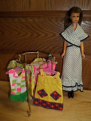 Vintage Francie Doll+Clothes-Boots+Rack & 6 Hangers-Tlc To Fair-Read All & Look