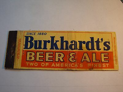 Vintage Matchbook Cover*burkhardt's Beer & Ale 2 Of America's Finest Since 1880