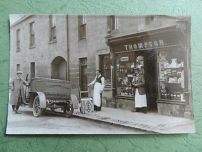 Old Real Photo Postcard - Thompson & Sons , Grocer , Warkworth , Northumberland