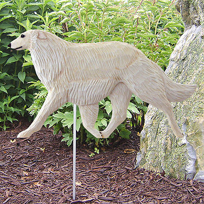 Borzoi Outdoor Garden Sign Hand Painted Figure Cream